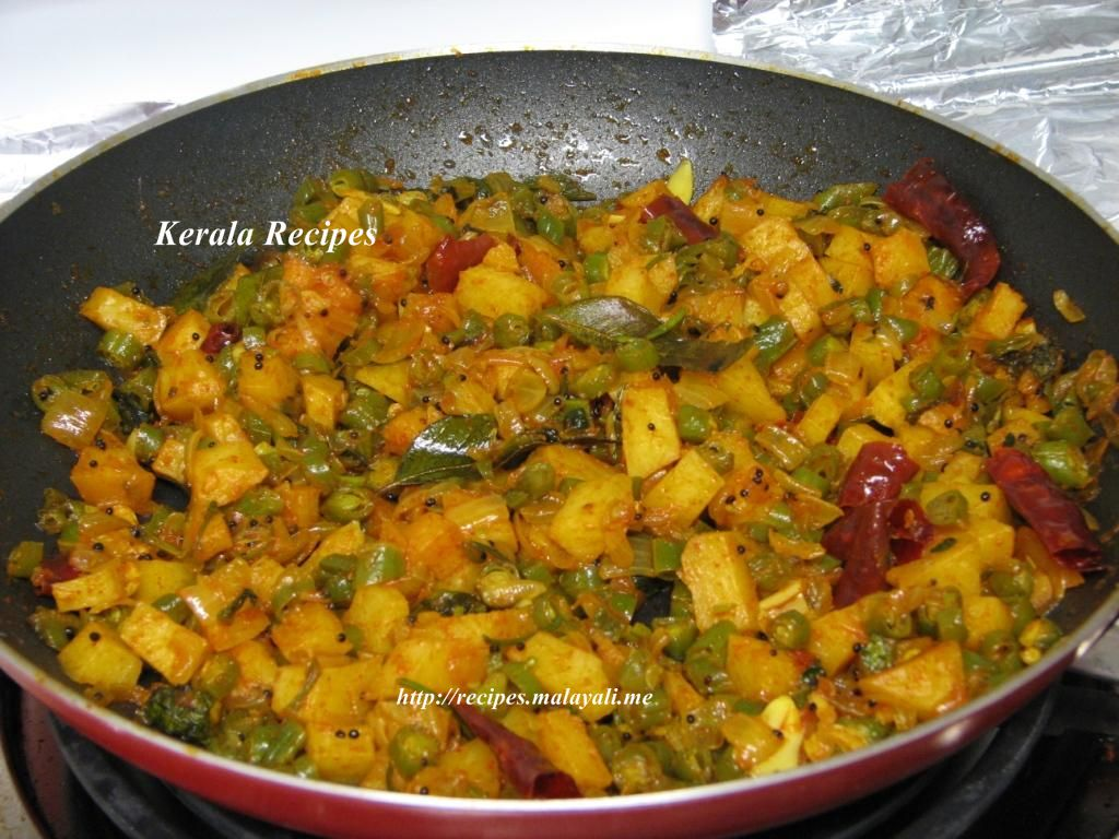 Beans and potato mezhukkupuratti stir fry kerala recipes forumfinder