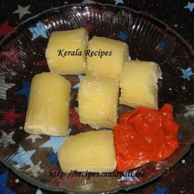 Kappa Chenda Puzhangiyathu – Boiled Yuca and Chilly Sauce