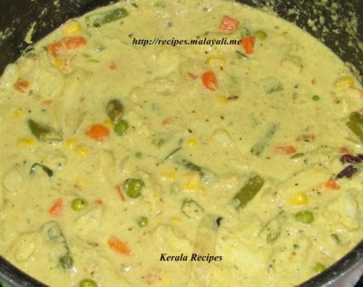 Mixed Vegeatble Khurma being cooked