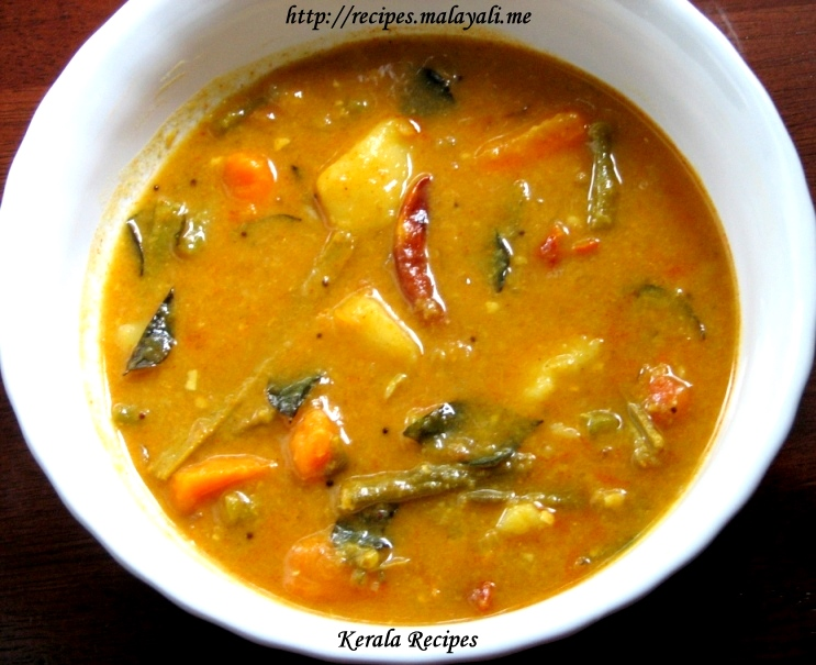 Kerala menu kerala recipes mixed vegetable sambar tomato rasam kerala forumfinder Choice Image