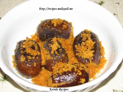Brinjal Stuffed with Coconut and Dalia