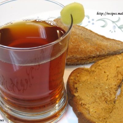 Toasted Whole Wheat Sandwich and Ginger Tea