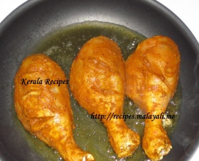 Chicken being shallow fried