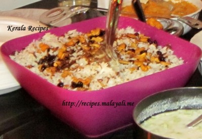 Ghee Rice with Fried Cashews, Raisins and Onions