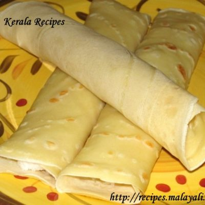 Mutta Kuzhalappam/Madakku San (Coconut Filled Crepes)