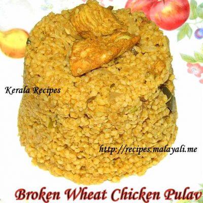 Broken Wheat and Chicken Pulav