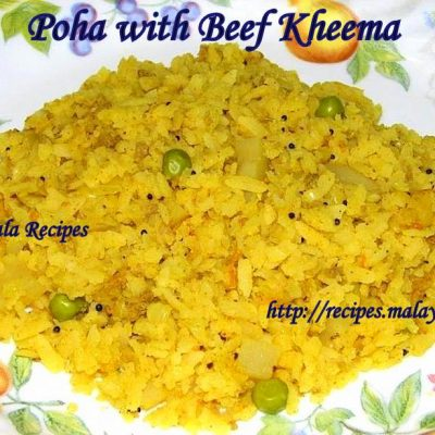 Poha with Kheema (Rice Flakes with Minced Meat)