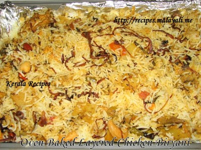Oven Baked Layered Chicken Biriyani