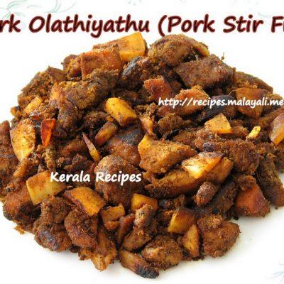 Pork Ularthiyathu/Olathiyathu (Kerala Pork Stir Fry)
