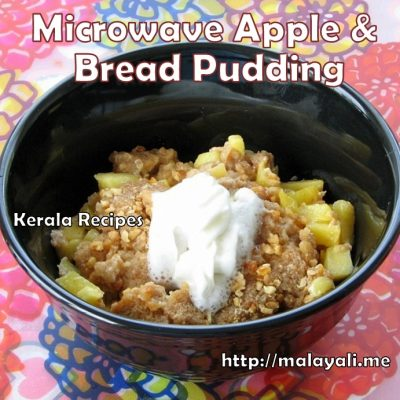 Microwave Eggless Apple Bread Pudding