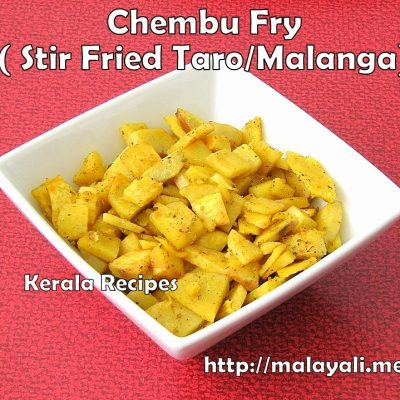 Chembu Fry (Stir Fried Taro/Malanga)