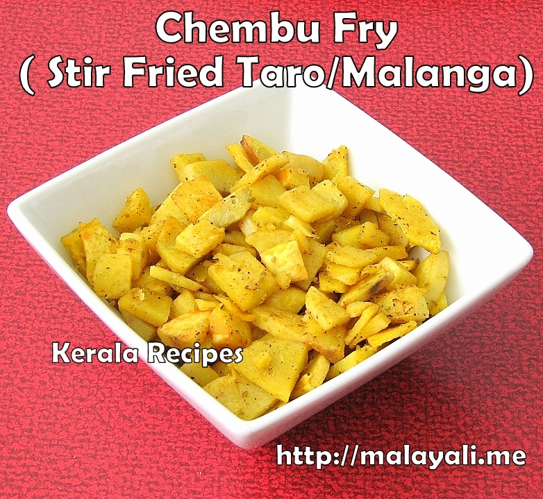 Chembu Fry (Stir Fried Taro/Malanga)