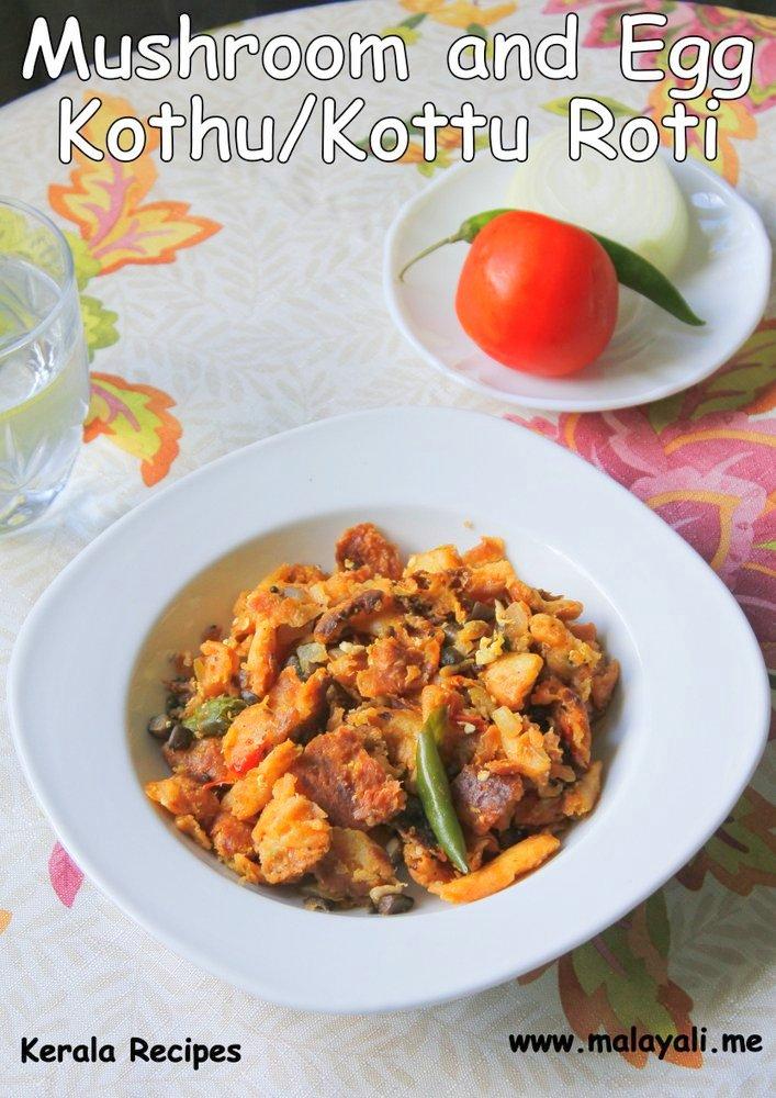 Mushroom and Egg Kothu Roti
