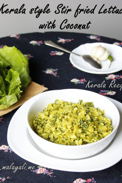 Lettuce Thoran (Kerala style Lettuce and Coconut Stir Fry)
